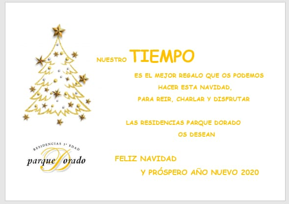 Centros de Tercera Edad Parque Dorado ¡ Feliz Navidad !