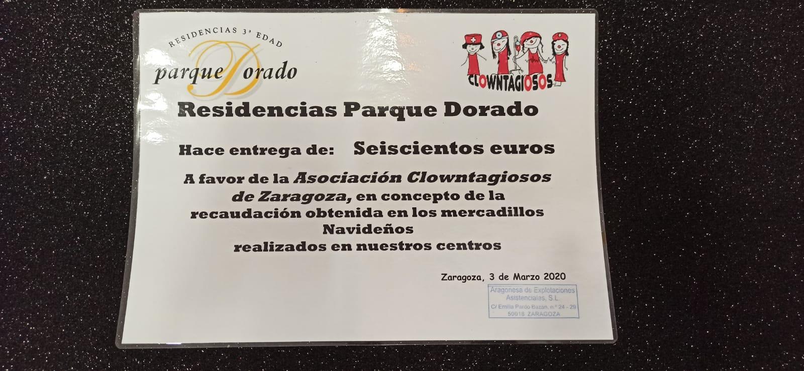 Centros Tercera Edad Parque Dorado: Entrega cheque solidario recaudado en el mercadillo
